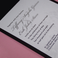 Stationery, white, pink, black, invitation, Invitations, Roses, Pocketfold, The w design studio