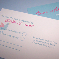 Stationery, pink, Invitations, Teal, Ribbon, Lovebirds, The w design studio