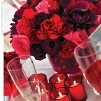 Reception, Flowers & Decor, pink, red, Centerpieces, Centerpiece, Candle