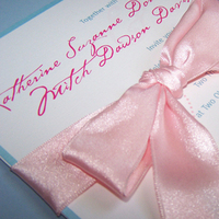 Stationery, pink, blue, invitation, Invitations, Ribbon, Lovebirds, The w design studio