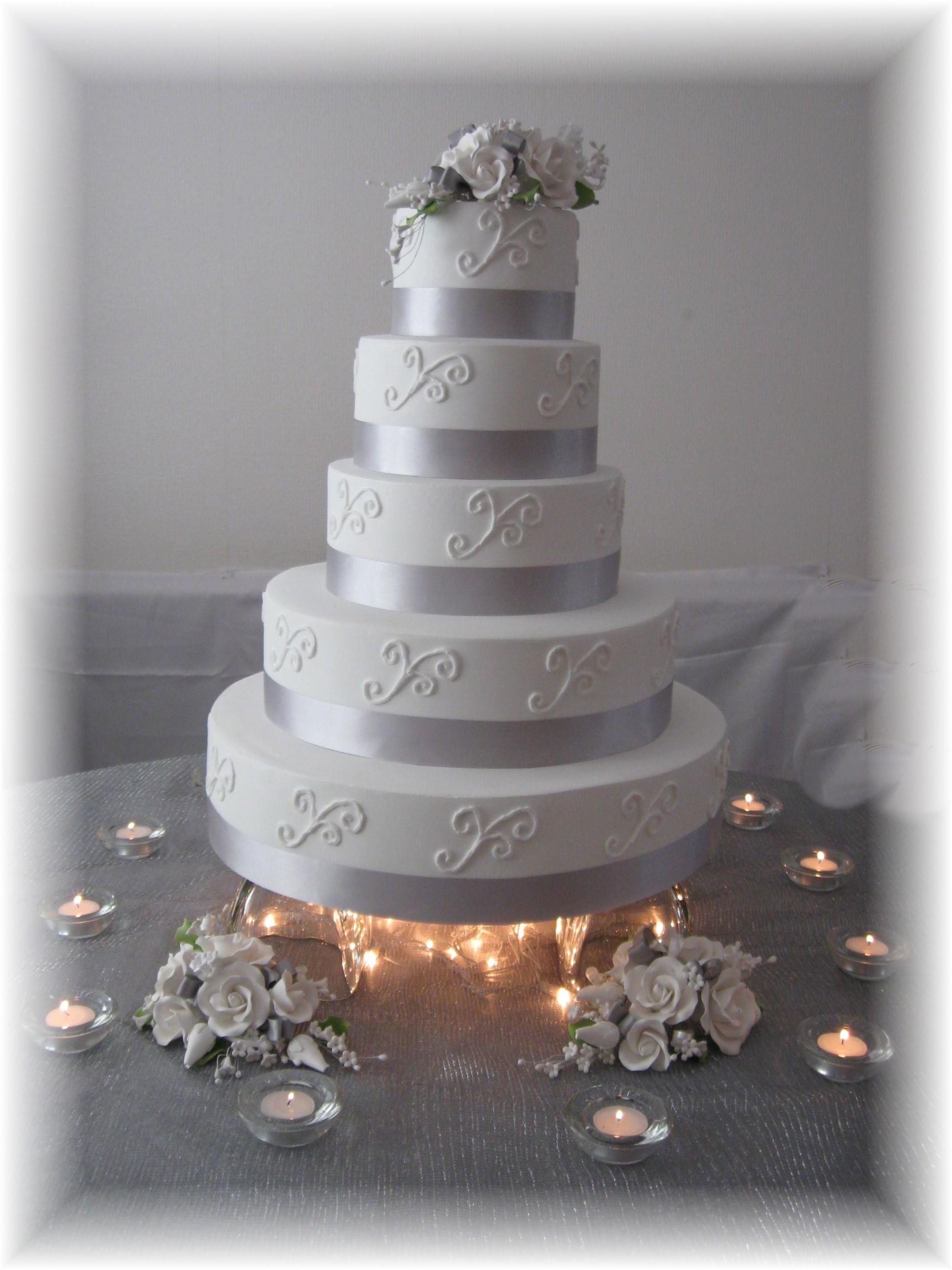 wedding cakes with silver ribbon fake wedding cakes Cakes Silver Cake Wedding Anniversary Fake 25th Afakecake