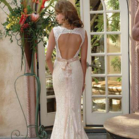 Wedding Dresses, Lace Wedding Dresses, Fashion, dress, Lace, Back, Sheath, Open, Sheath Wedding Dresses
