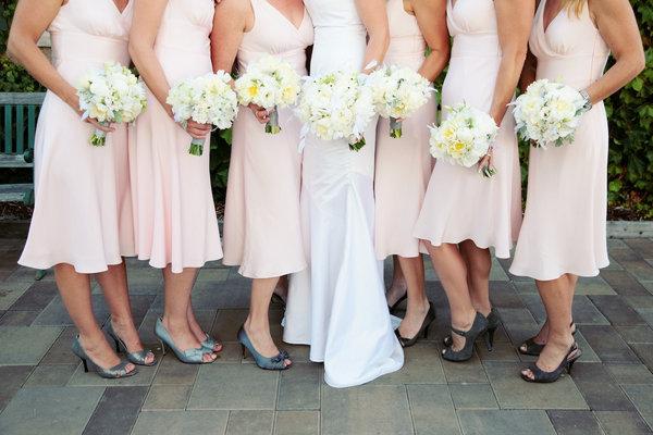 gray bridesmaid dresses and pink shoes 22