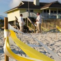 Ceremony, Flowers & Decor, yellow, Beach, Aisle Decor, Beach Wedding Flowers & Decor, Bamboo, Ribbon, Streamer