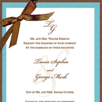Stationery, blue, brown, invitation, Invitations, Ribbon, With, Celebration invitations