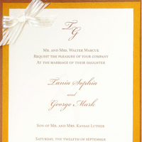 Stationery, ivory, orange, invitation, Invitations, Ribbon, With, Celebration invitations