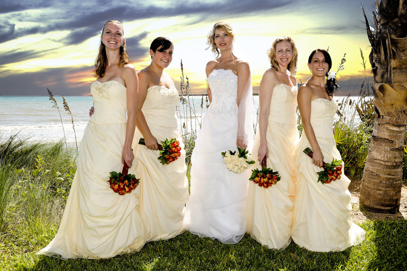 yellow, Beach, Bride, Roses, Bridesmaid