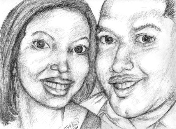 Stationery, Ceremony Programs, Portrait, Programs, Wedding, Couple, Art, Pencil, Portraits by cynthia