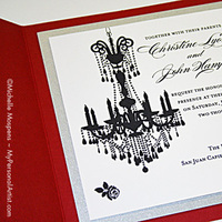 Stationery, red, black, Classic Wedding Invitations, Invitations, Wedding, Chandelier, My personal artist