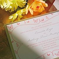 Stationery, pink, red, blue, gold, Invitations, Wedding, Butterfly, My personal artist