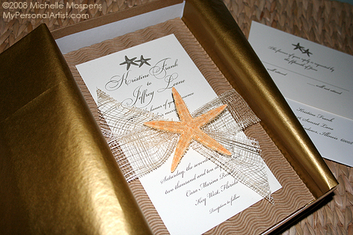 Stationery, gold, Beach, Beach Wedding Invitations, Invitations, Wedding, Starfish, My personal artist