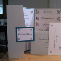 Stationery, white, silver, Invitations, Monogram, Teal, Pocketfold, Swarovski, Crystals, Platinum events and design, Double-layer, Closure