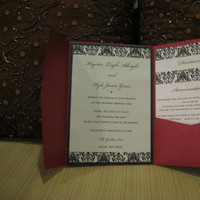 Stationery, red, invitation, Invitations, Crystal, Pocketfold, Swarovski, Damask, Metallic, Platinum events and design