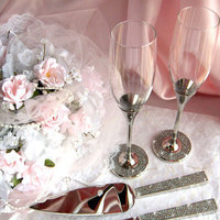 Reception, Flowers & Decor, Flutes, Set, Our, Rhinestone, Server