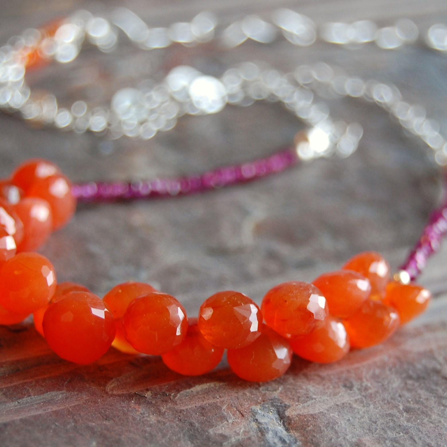 orange, Necklace, Faceted, Gemstone
