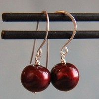 Jewelry, red, silver, Earrings, Pearls, Bridal jewelry, Dangle, Plum, Wedding jewelry, Bridesmaid jewelry, South paw studios, Katy mims, Ruby