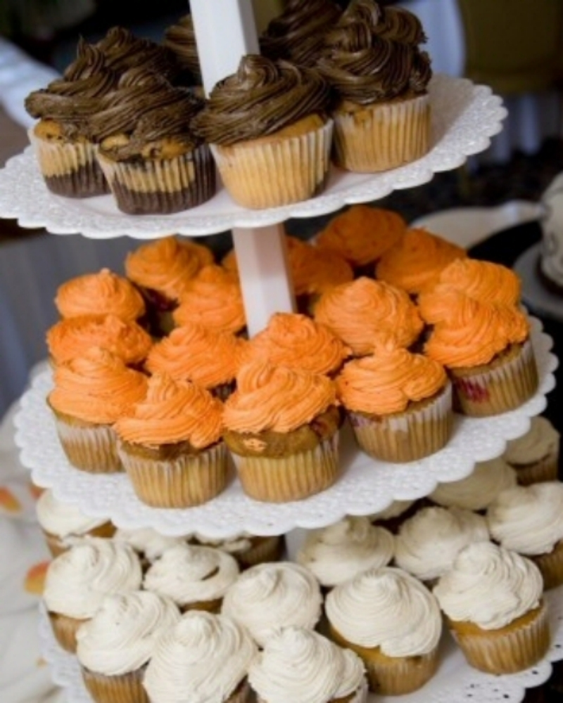 Cakes, orange, brown, Cupcakes, Wedding, inc, Weddings by stephanie