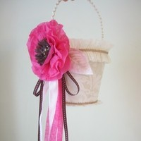 Flowers & Decor, ivory, pink, brown, Flower, Girl, Custom, Champagne, Basket, Bucket