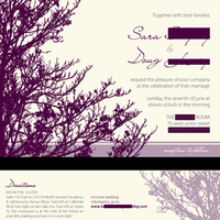 Stationery, purple, Invitations, Tree