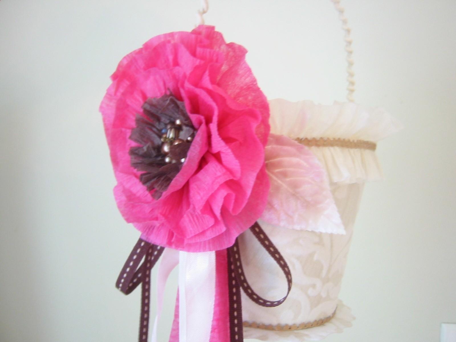Flowers & Decor, ivory, pink, brown, Flower, Girl, Custom, Champagne, Basket, Bucket