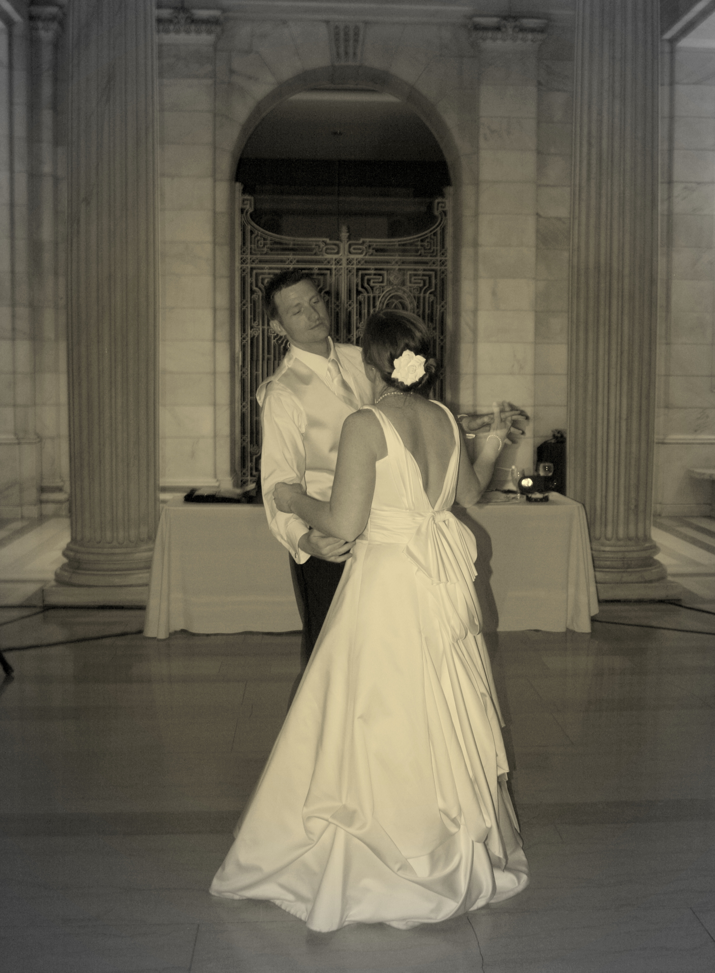 white, black, Bride, Groom, Dance, Wedding, First, And, Romance, Sepia, K mycia photography