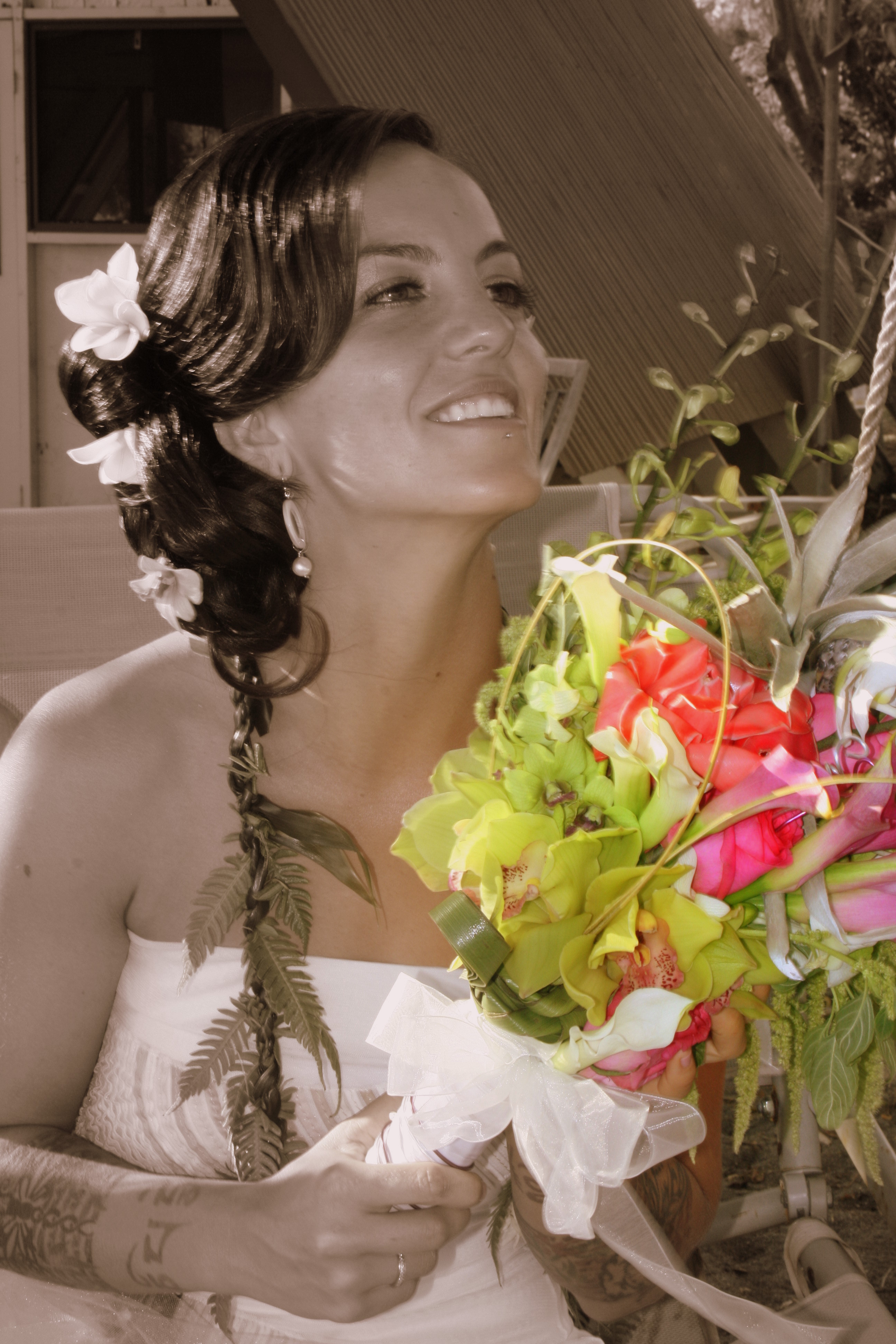 Wedding Dresses, Destinations, Fashion, white, yellow, pink, purple, green, black, dress, Hawaii, Bride, Bouquet, Portrait, And, Maui, Color, Sepia, Smiles, K mycia photography