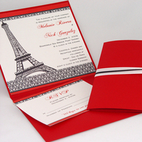 Stationery, red, black, invitation, Invitations, Paris, Damask