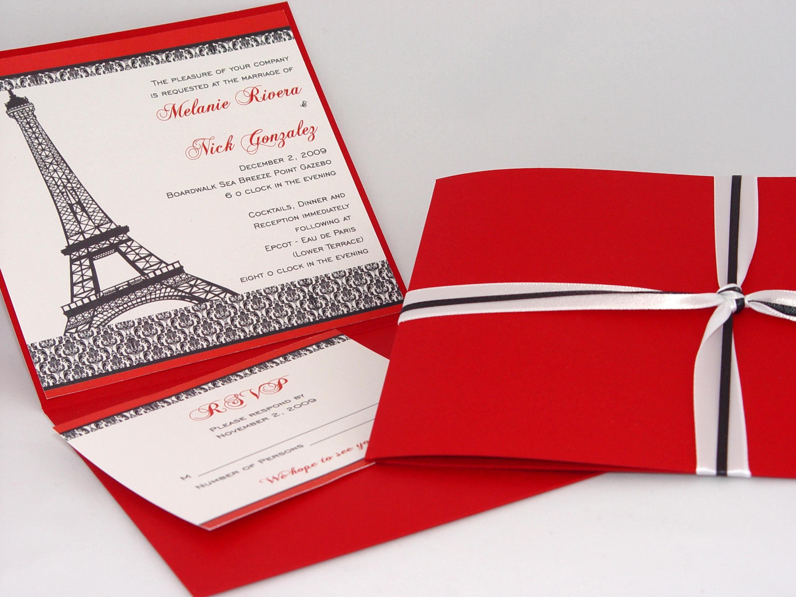 Stationery, red, black, invitation, Invitations, Paris, Damask