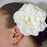 Beauty, Flowers & Decor, Veils, Fashion, ivory, silver, Accessories, Flower, Veil, Wedding, Hair, Bridal, Rose, Crystal, Birdcage, Couture, Swarovski, Peony, Rhinestone, Fascinator, Gardenia, Etsy, Cheap, Clip, Handmade, Netting, Blusher, Russian, Donnaella wedding accessories
