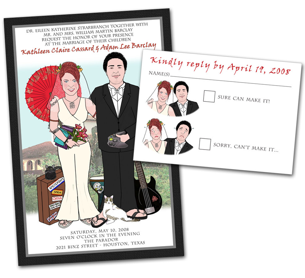 Reply Cards, Of, Thank you cards, Fun, Unique, The, Out, Box, Alternative, Different, Save the date cards, Wedding invitations, Caricature, Shower invitations