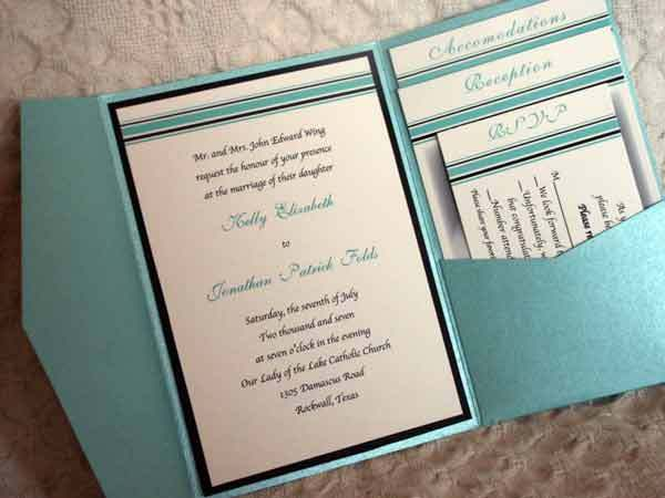 Stationery, blue, black, Modern, Invitations, Custom, Elegant, Tiffany, Pocket, Contemporary, Joyful heart design custom invitations