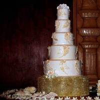 Cakes, white, gold, cake, Cutting, Jeseca creations