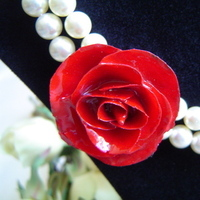 Flowers & Decor, Jewelry, red, Necklaces, Bride, Flower, Rose, Necklace, Swarovski, Pearl, Bridalbling