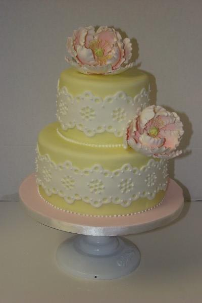 yellow, pink, Lace, Peony, Eyelet, Wedding cake, Sweet cakes by rebecca