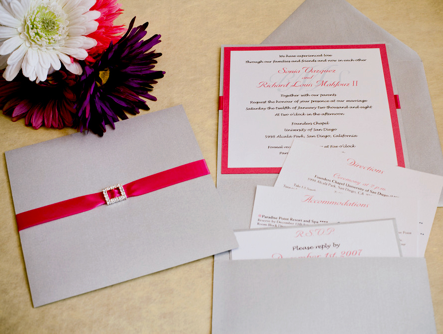 Stationery, white, pink, silver, invitation, Invitations, Custom, Pocket, Folder, Rhinestone, Buckle, Papercake designs