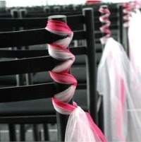 pink, white, Decoration, Chair, Organza