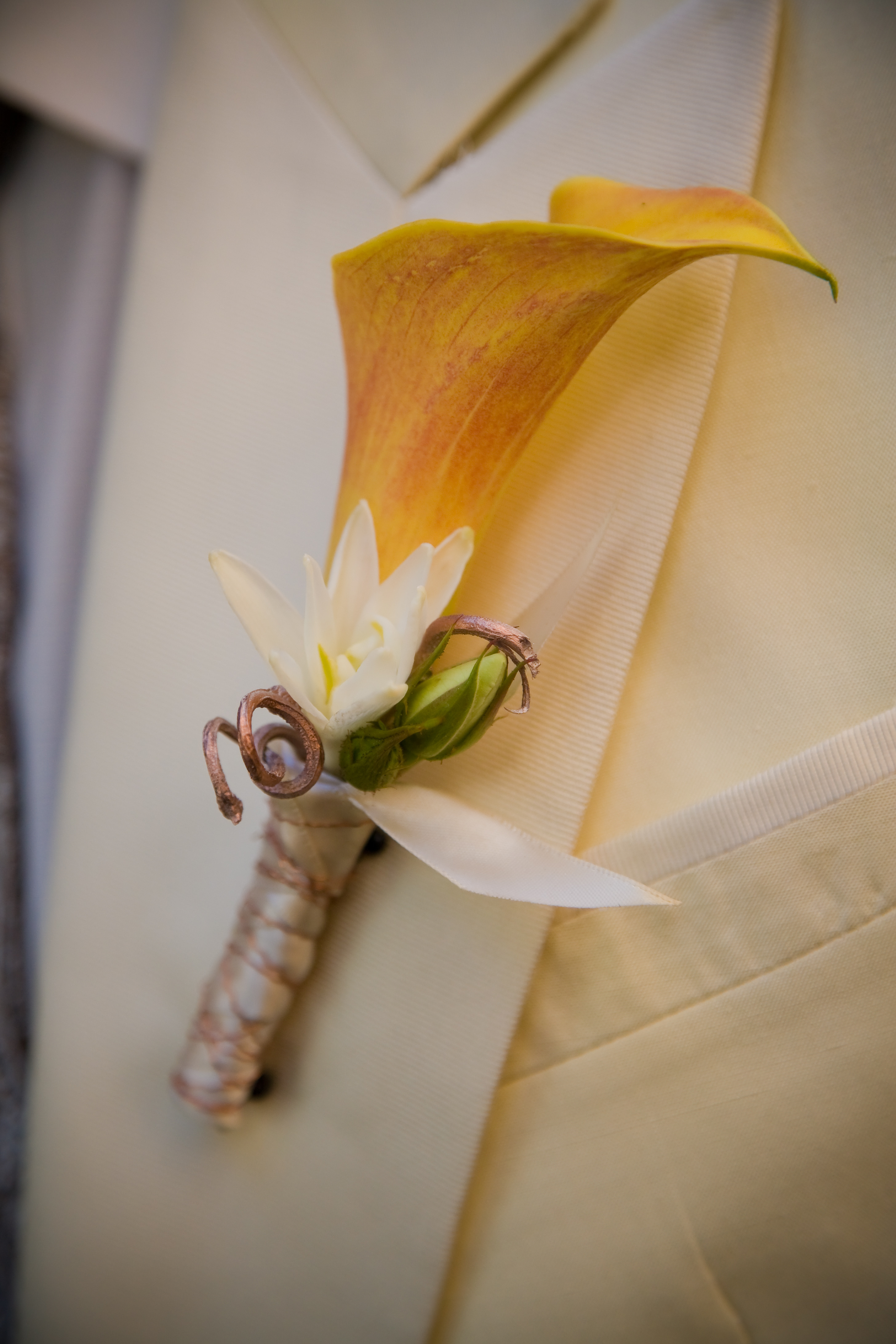 Beauty, Flowers & Decor, white, Feathers, Boutonnieres, Flowers, Calla, Boutonniere, Lillies
