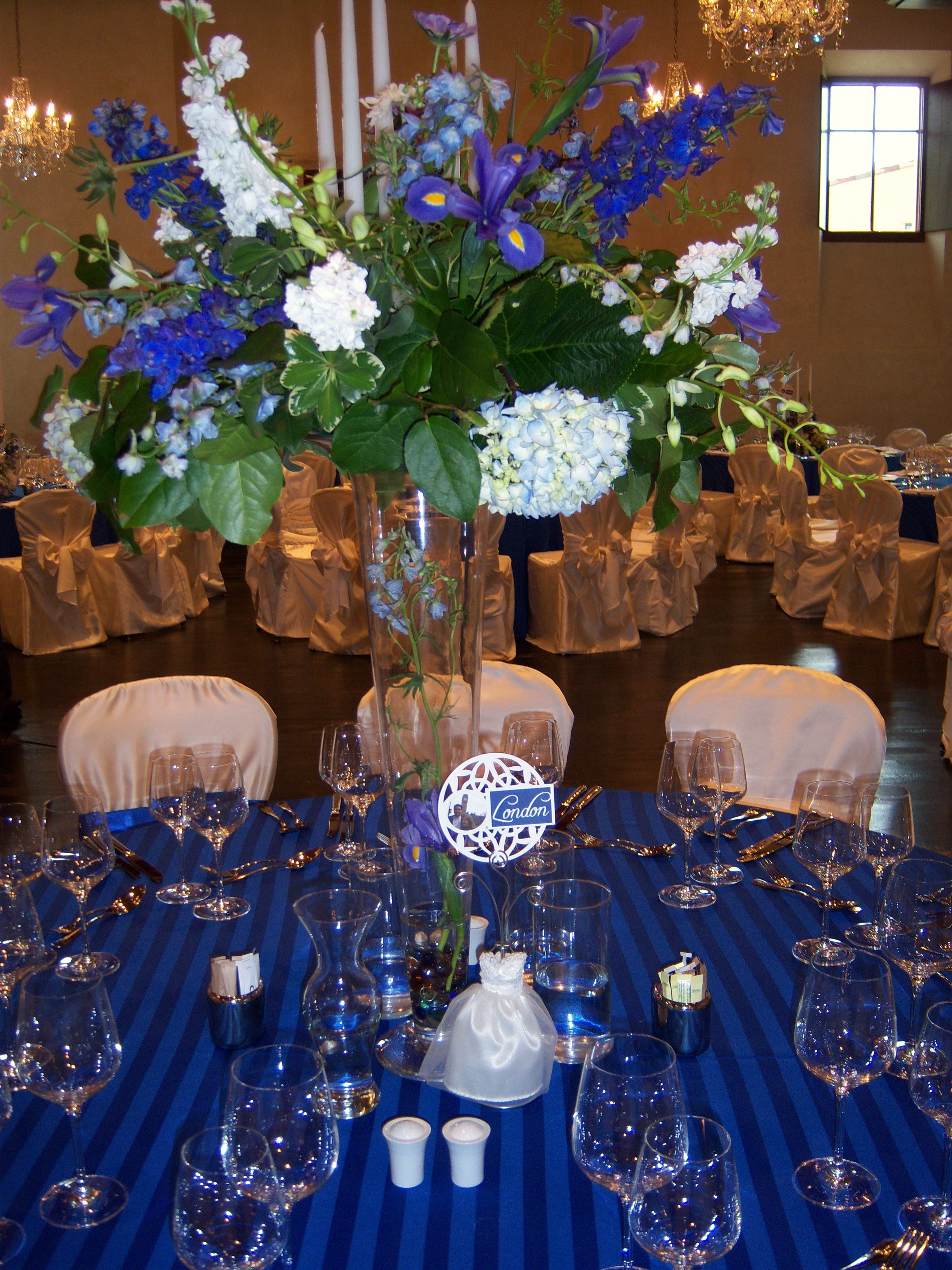 Flowers & Decor, blue, Flower, Centerpiece, Tall, Arrangement, Perry consulting