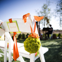 Ceremony, Flowers & Decor, orange, green, Ceremony Flowers, Aisle Decor, Summer, Tables & Seating, Flowers, Lime, Chairs, Ribbon, Pomander, Sunset, Petals, Details, Aisle, In the now weddings and events, Cones