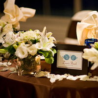 Reception, Flowers & Decor, white, blue, brown, Beach, Centerpieces, Flowers, Beach Wedding Flowers & Decor, Centerpiece, Table, Sweetheart, Tiffany, Cream, Names, In the now weddings and events, Sea