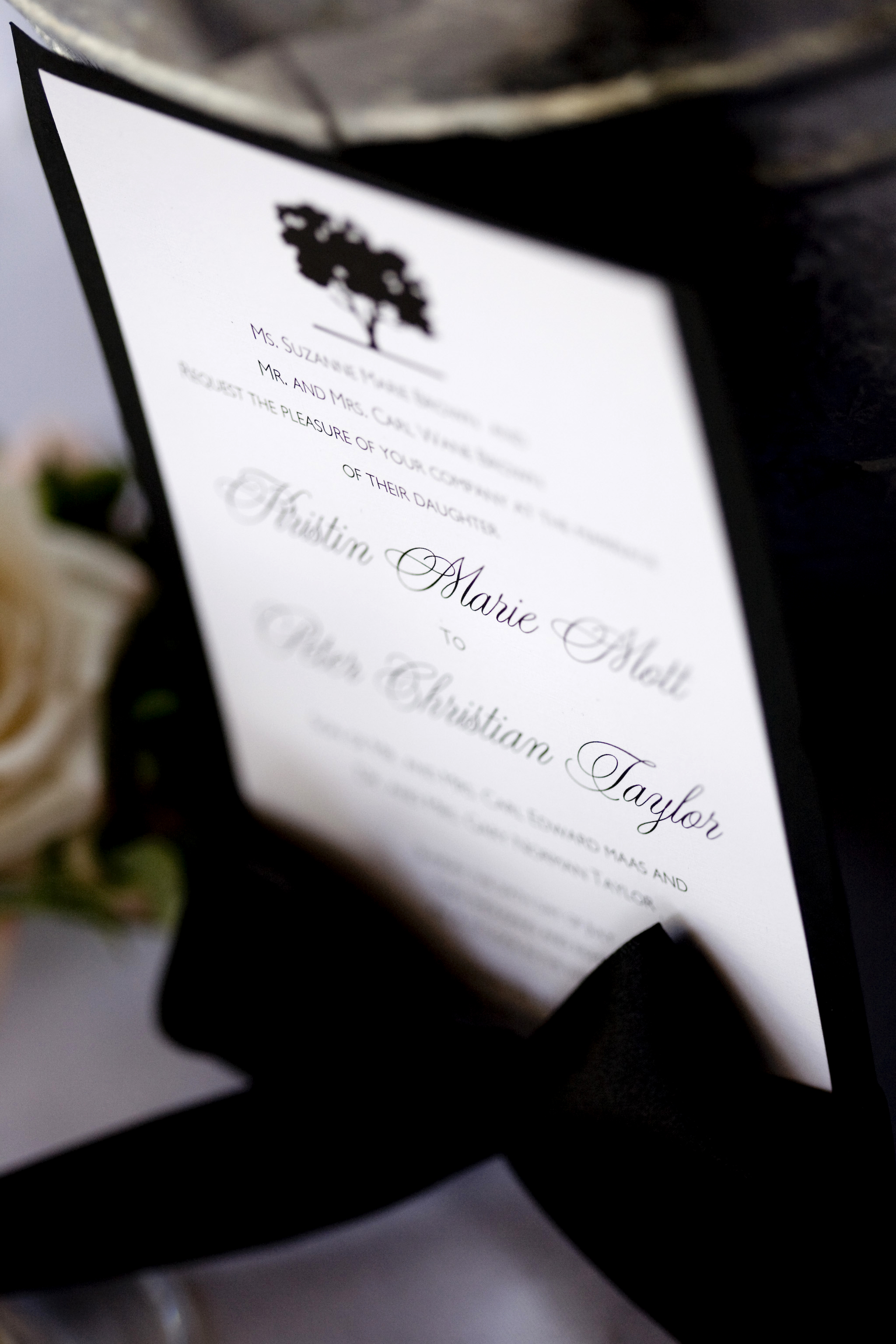Stationery, white, black, invitation, Invitations, And, Tree, Oak, A taylor made wedding