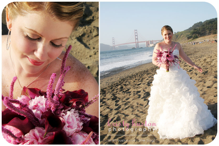 Flowers & Decor, pink, purple, Beach, Flowers, Beach Wedding Flowers & Decor, Bouquets, San francisco, Purple flowers, Pink flowers, Golden gate bridge, Kristy huston photography, Bridals, Pink bouquets, Purple bouquets, San francisco beach