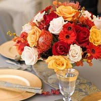 Flowers & Decor, ivory, orange, red, Centerpieces, Flowers, Roses, Yello, A pretty petal