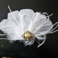 Hair, Wedding, Bridal, Vintage, Fascinator, Feather, Accessory, Donnaella wedding accessories, Barrette, Beauty, Feathers