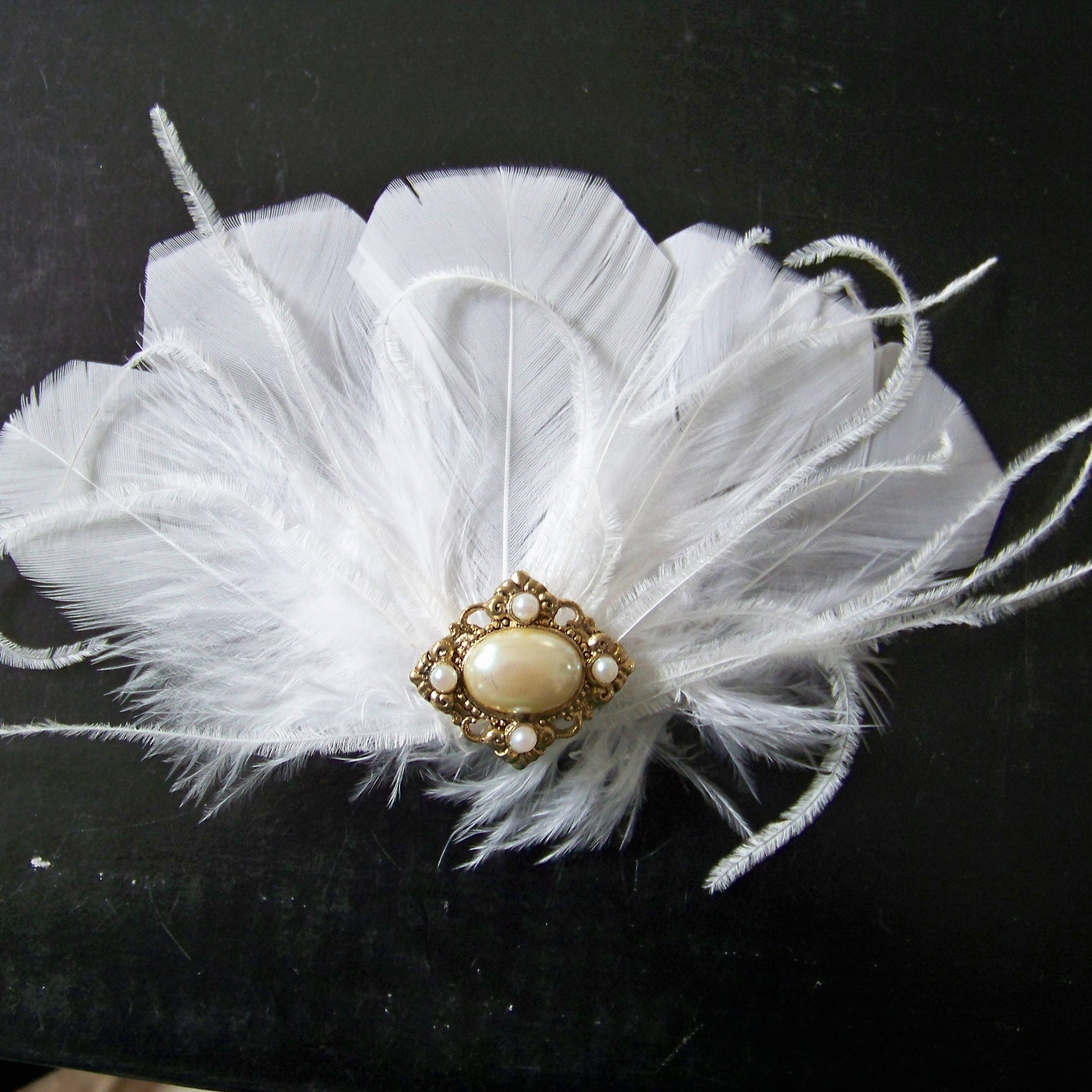 Beauty, Feathers, Vintage, Wedding, Hair, Bridal, Accessory, Fascinator, Barrette, Feather, Donnaella wedding accessories