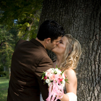Bride, Outdoor, Groom, Bride and groom, Kiss, Couple, Outdoors