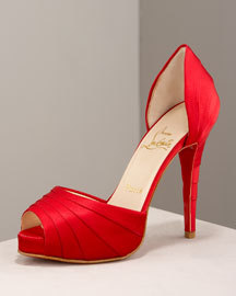 red, Christian louboutin, Dorsay pumps
