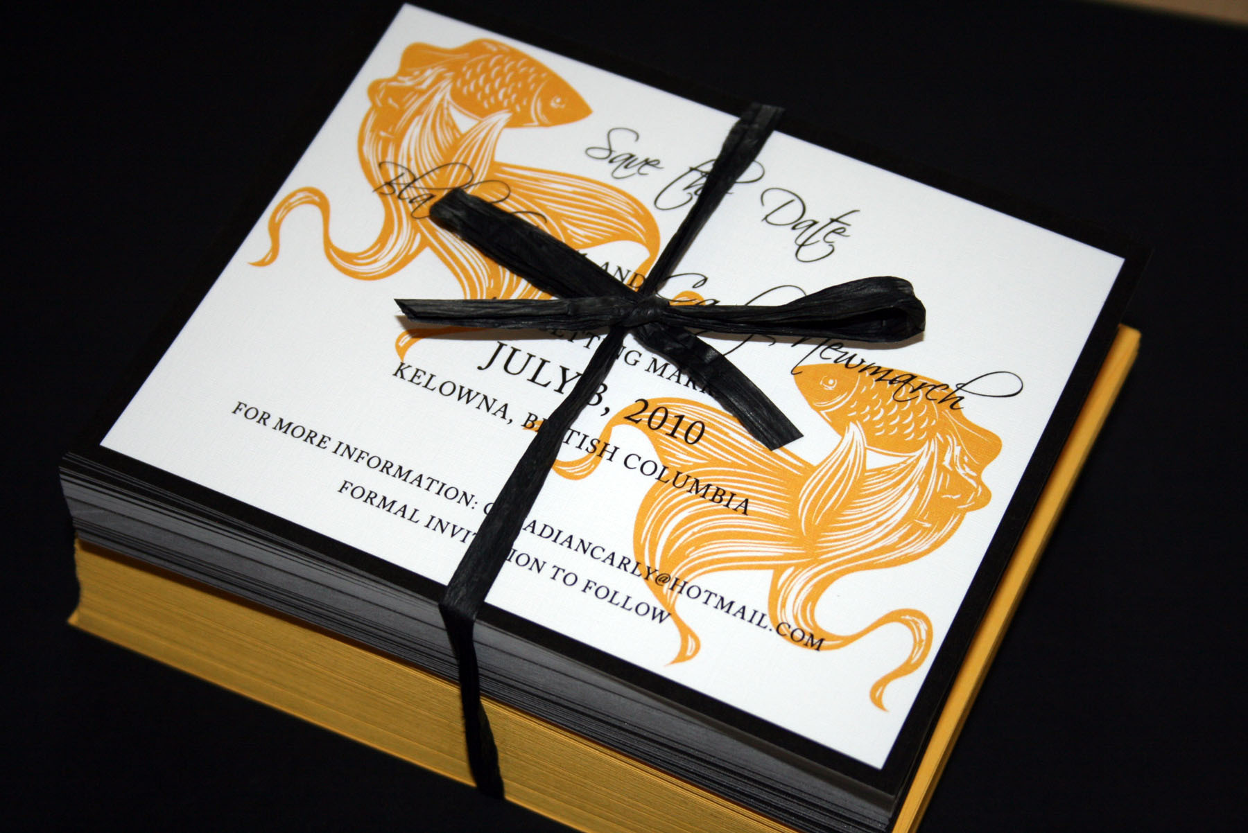 Stationery, Invitations, Save-the-Dates, Custom, Fish, Goldfish, Gold fish