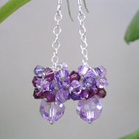 Jewelry, purple, Earrings, Party, Bridal, Cluster, Jewelrydelicaciesetsycom