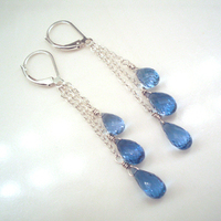 Jewelry, blue, Earrings, Bridal, Topaz, Dangle, Jewelrydelicaciesetsycom, Bridal party earrings, Mother of bride earrings